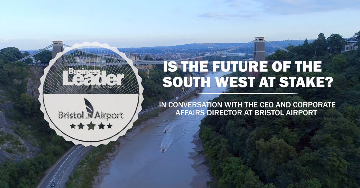Aerial shot of the clifton suspension bridge, interview with Bristol airport